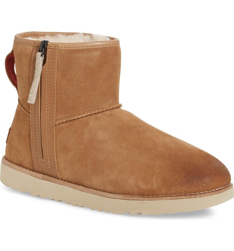 UGG<SUP>®</SUP> Mini Zip Waterproof Boot, Main, color, CHESTNUT