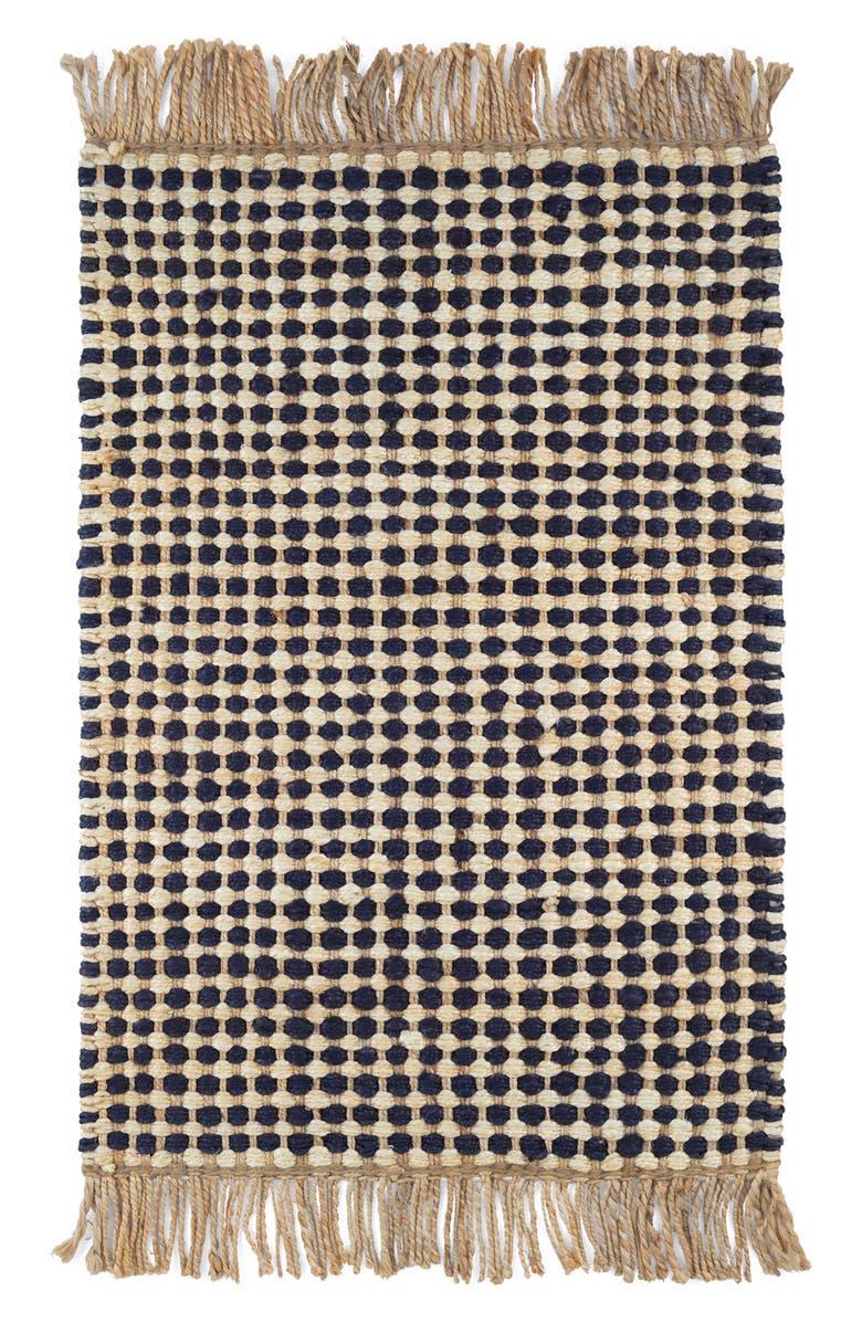 DASH & ALBERT Kuba Woven Jute Rug, Main, color, BLACK