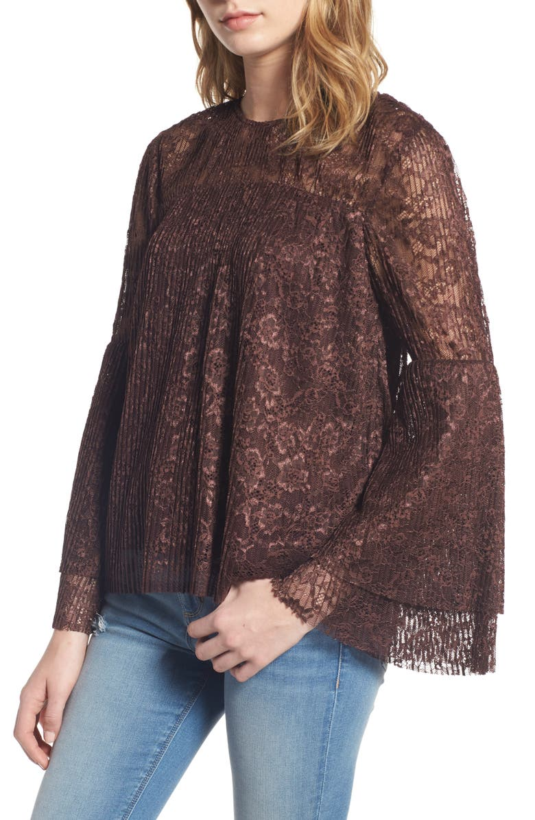 MOON RIVER Lace Bell Sleeve Top, Main, color, 937