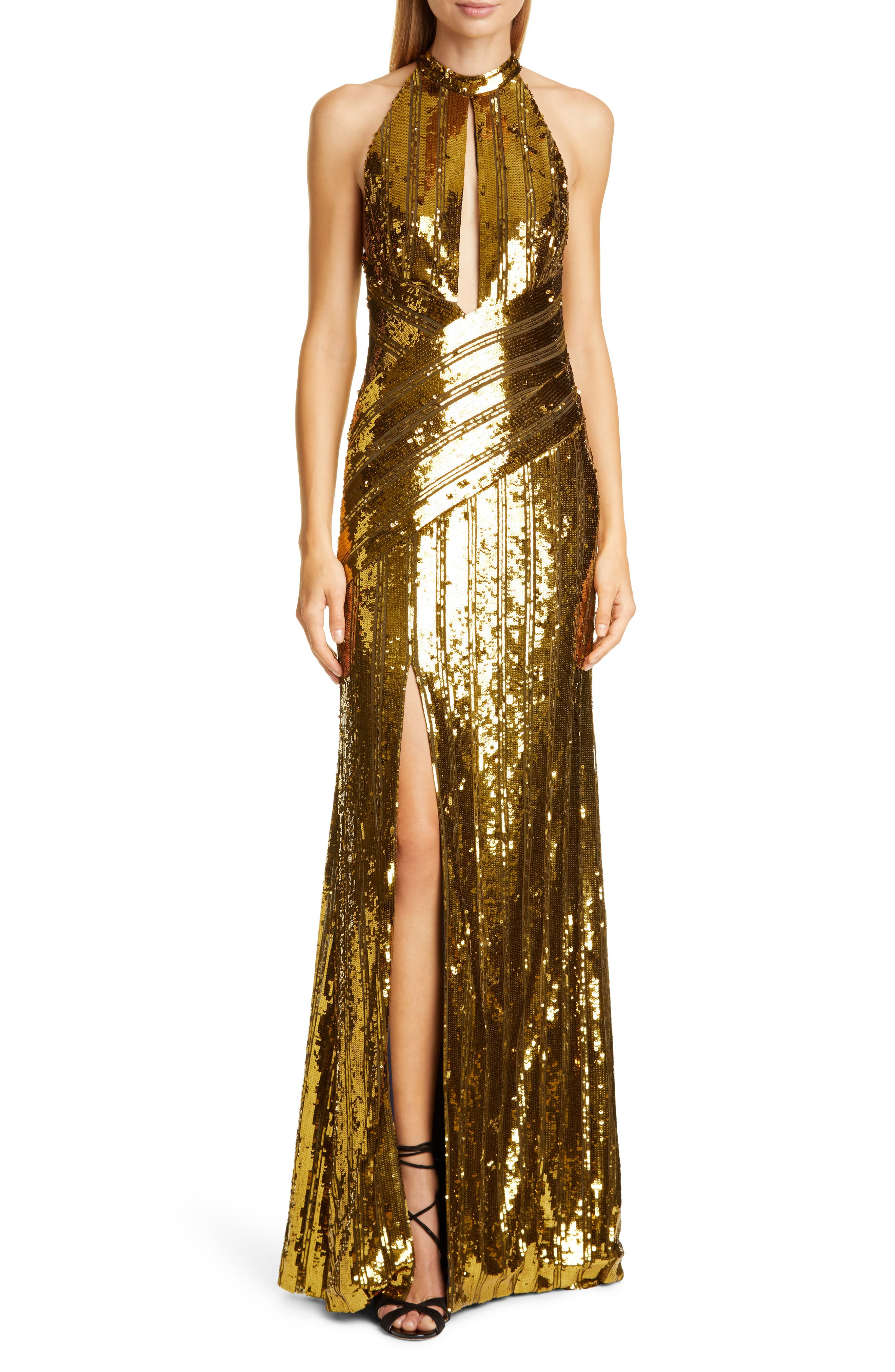 70s Prom, Formal, Evening, Party Dresses Womens Galvan Peekaboo Cutout Sequin Halter Gown $2,350.00 AT vintagedancer.com