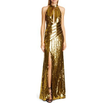 Galvan Peekaboo Cutout Sequin Halter Gown, US / 40 FR - Yellow