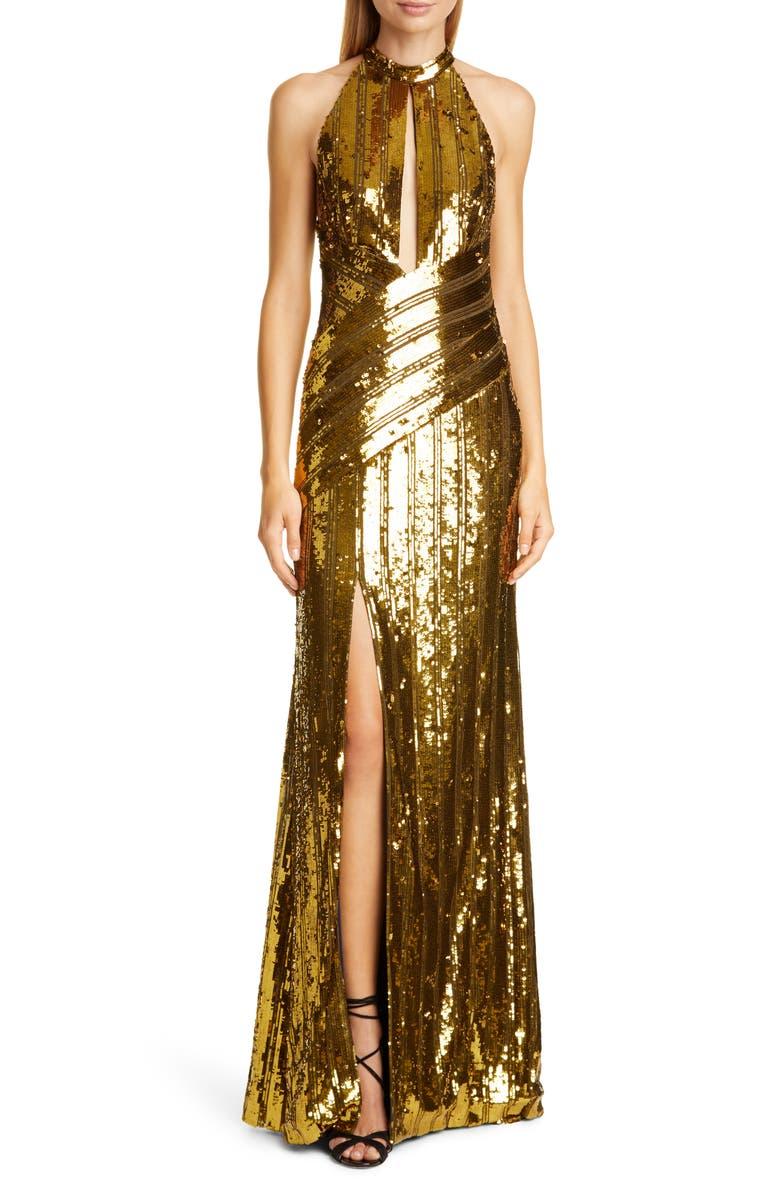 GALVAN Peekaboo Cutout Sequin Halter Gown, Main, color, MUSTARD GOLD