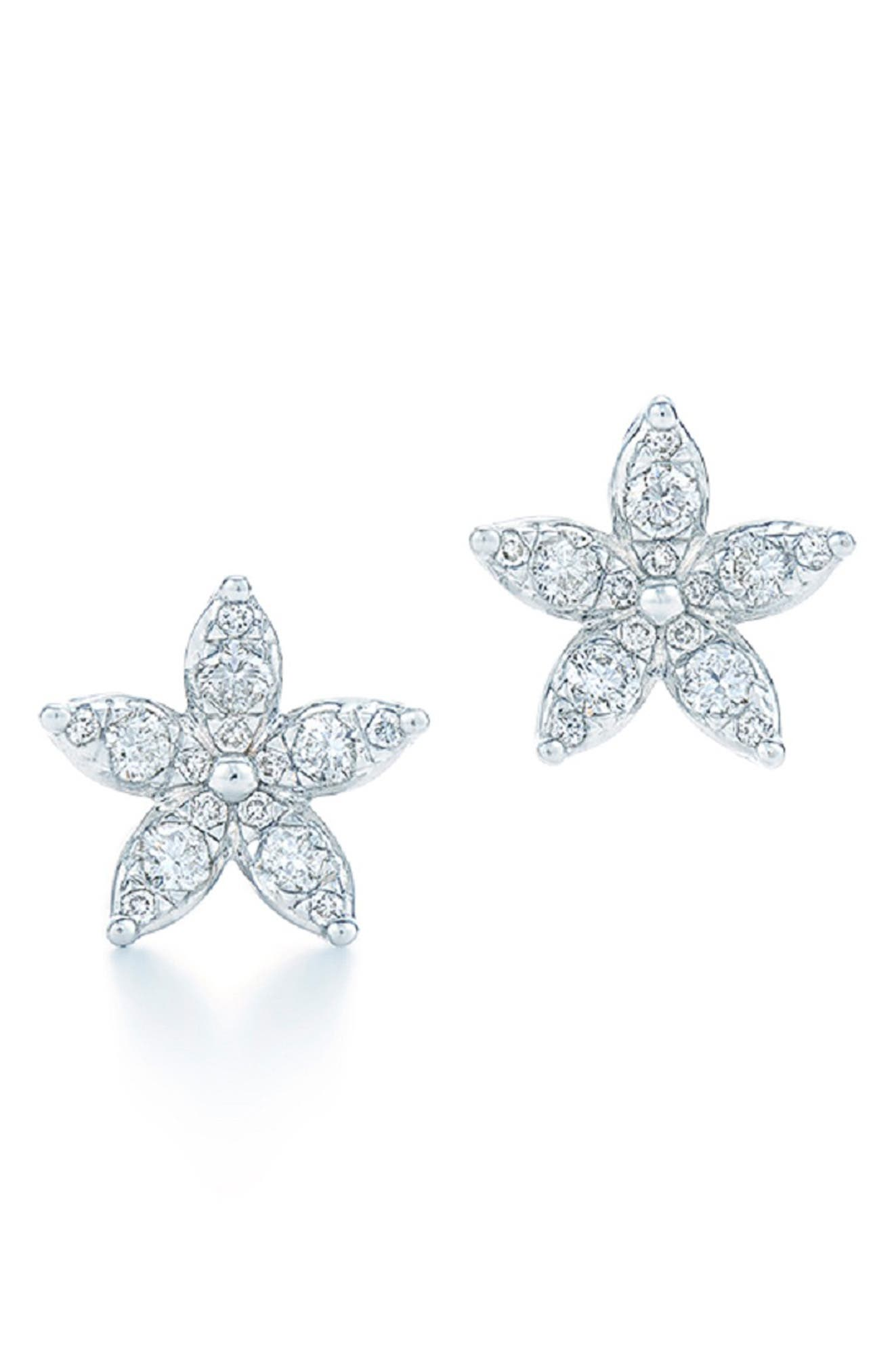 Sunburst Flower Diamond Stud Earrings, Main, color, WHITE GOLD