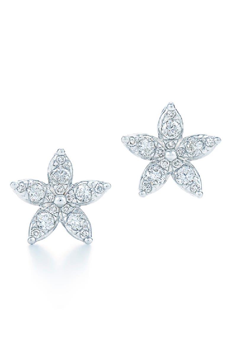 KWIAT Sunburst Flower Diamond Stud Earrings, Main, color, WHITE GOLD
