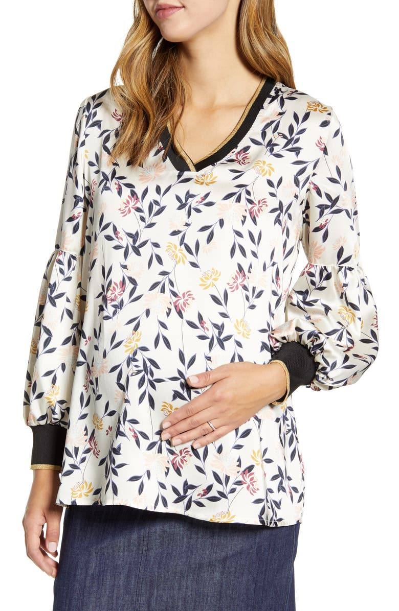 MATERNAL AMERICA Bishop Sleeve Maternity Blouse, Main, color, ZEN GARDEN