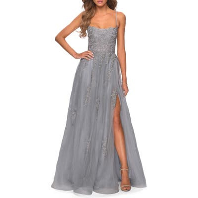 La Femme Floral Embroidered Tulle Gown, Grey