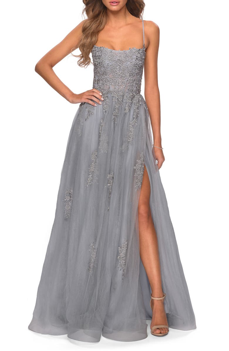 LA FEMME Floral Embroidered Tulle Gown, Main, color, SILVER