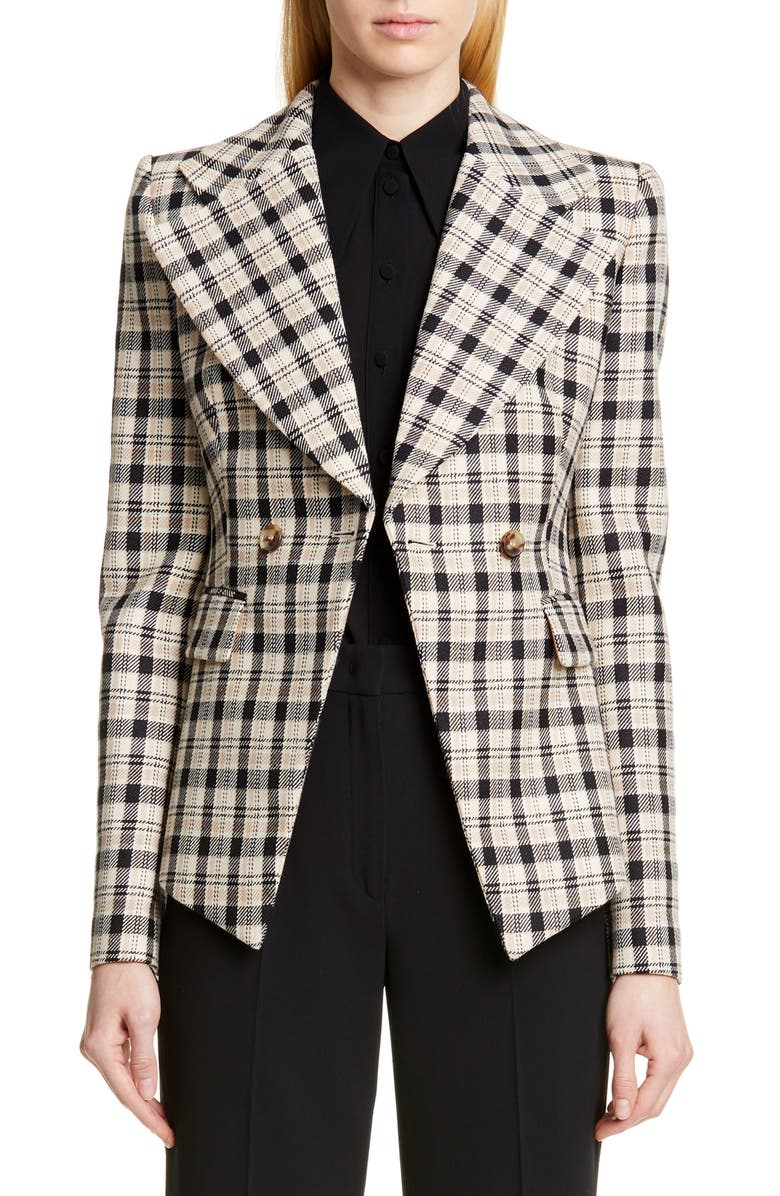 MICHAEL KORS COLLECTION Michael Kors Double Breasted Plaid Blazer, Main, color, 289