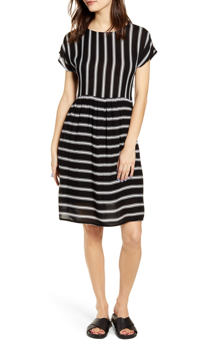 NOISY MAY Melissa Stripe A-Line Dress, Main, color, BLACK STRIPE