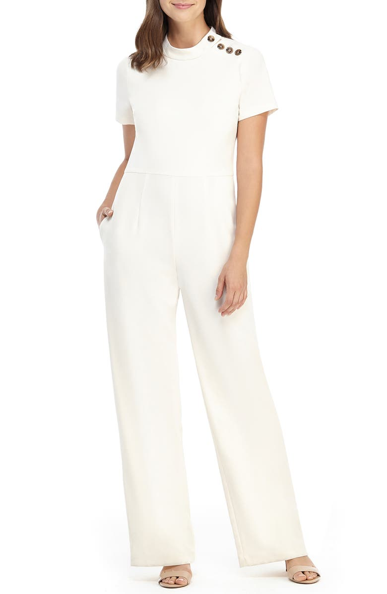GAL MEETS GLAM COLLECTION Mimi Button Detail Crepe Jumpsuit, Main, color, CREAM