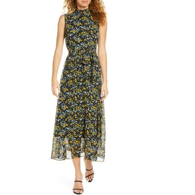 Sam Edelman Ditsy Floral Smock Neck Chiffon Midi Dress, Black