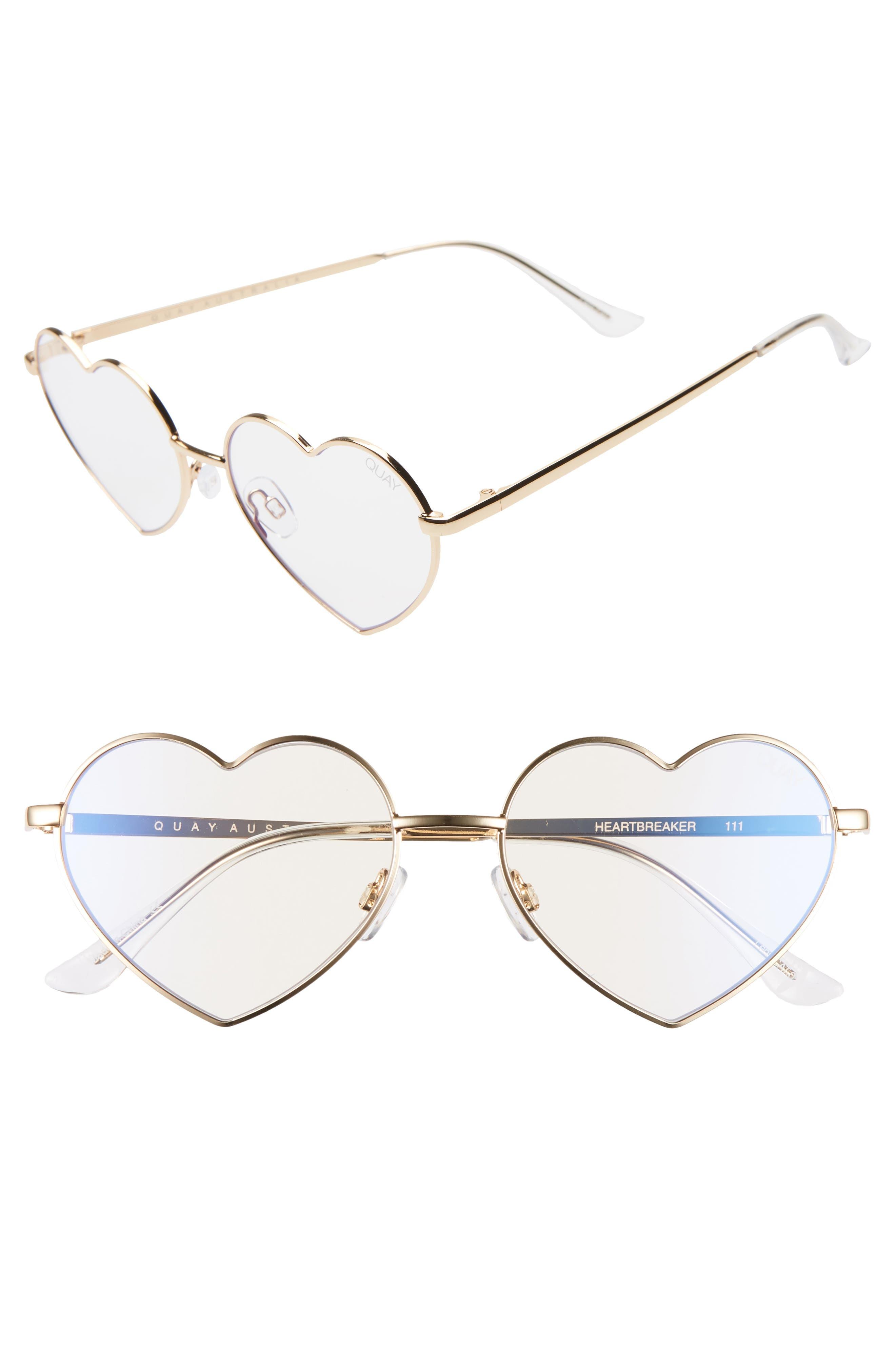1960s Sunglasses   70s Sunglasses, 70s Glasses Womens Quay Australia Heartbreaker 54Mm Blue Light Blocking Glasses - $50.00 AT vintagedancer.com