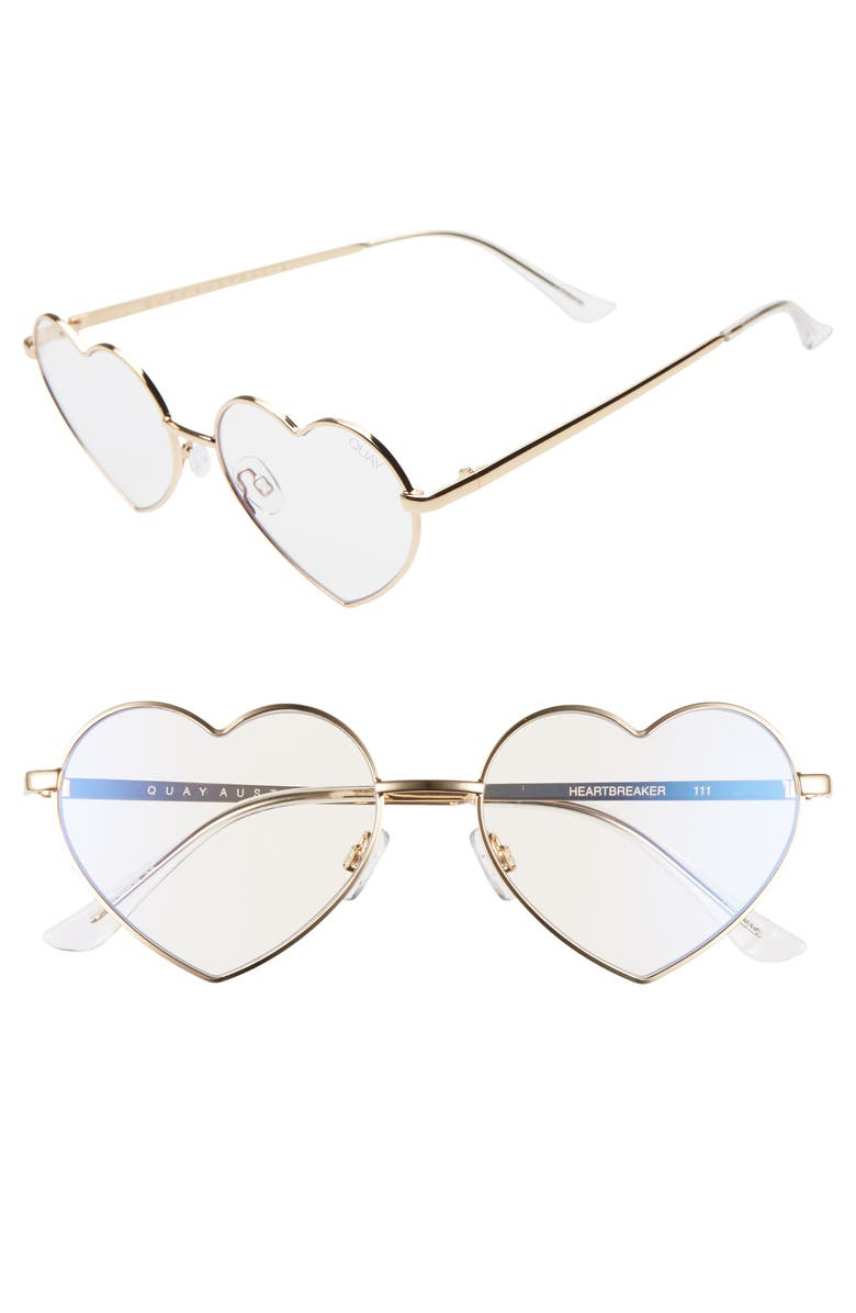 QUAY AUSTRALIA Heartbreaker 54mm Blue Light Blocking Glasses, Main, color, GOLD/ CLEAR BLUE LIGHT