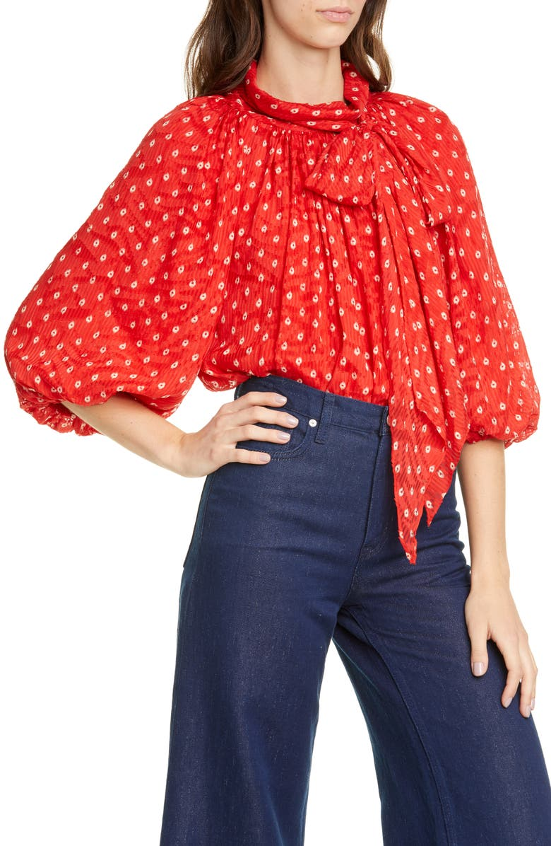 REBECCA TAYLOR Sunrise Dot Silk Blend Top, Main, color, 600