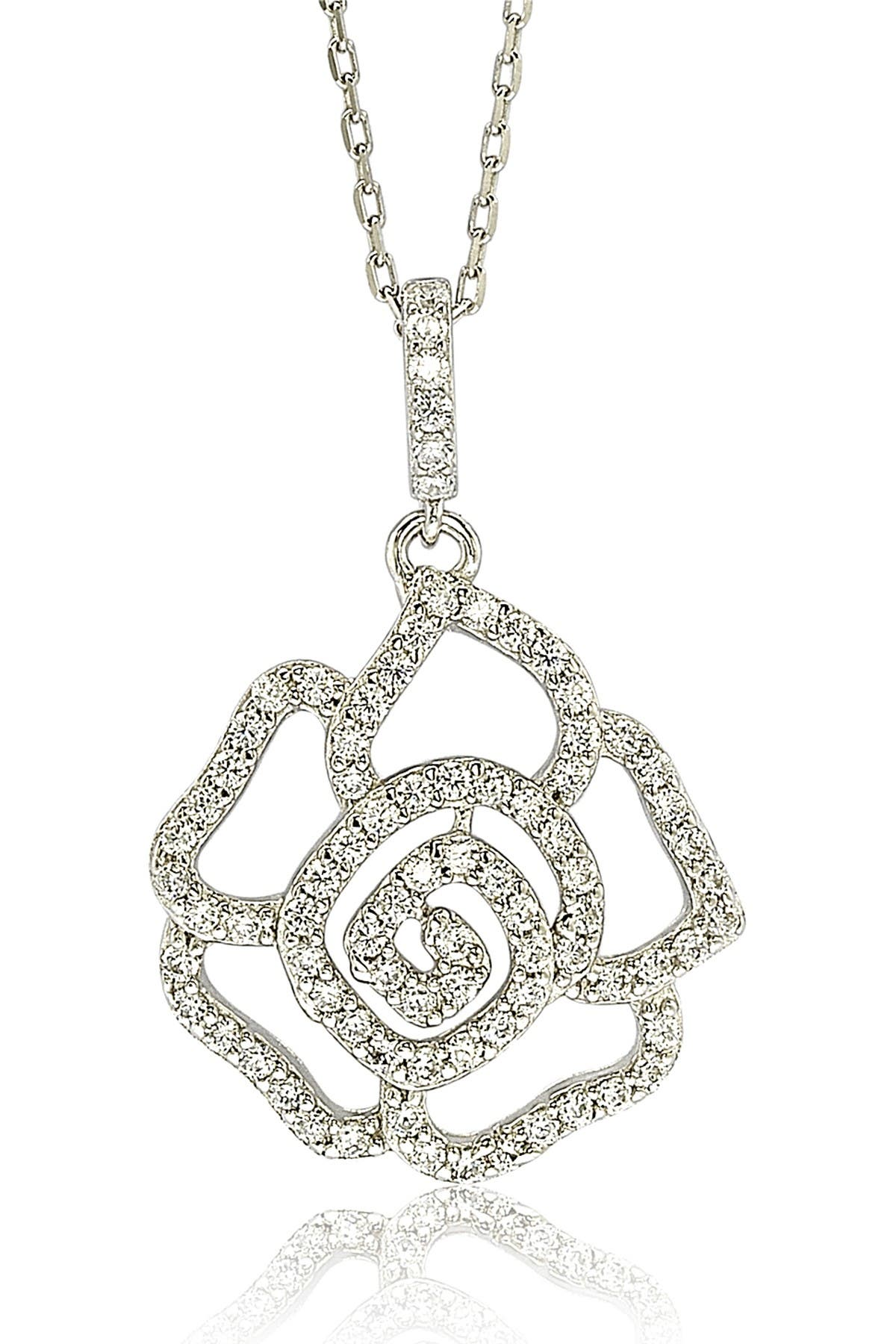 Suzy Levian Sterling Silver CZ Flower Pendant Necklace at Nordstrom Rack