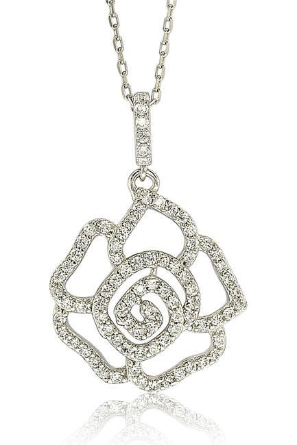 Image of Suzy Levian Sterling Silver CZ Flower Pendant Necklace