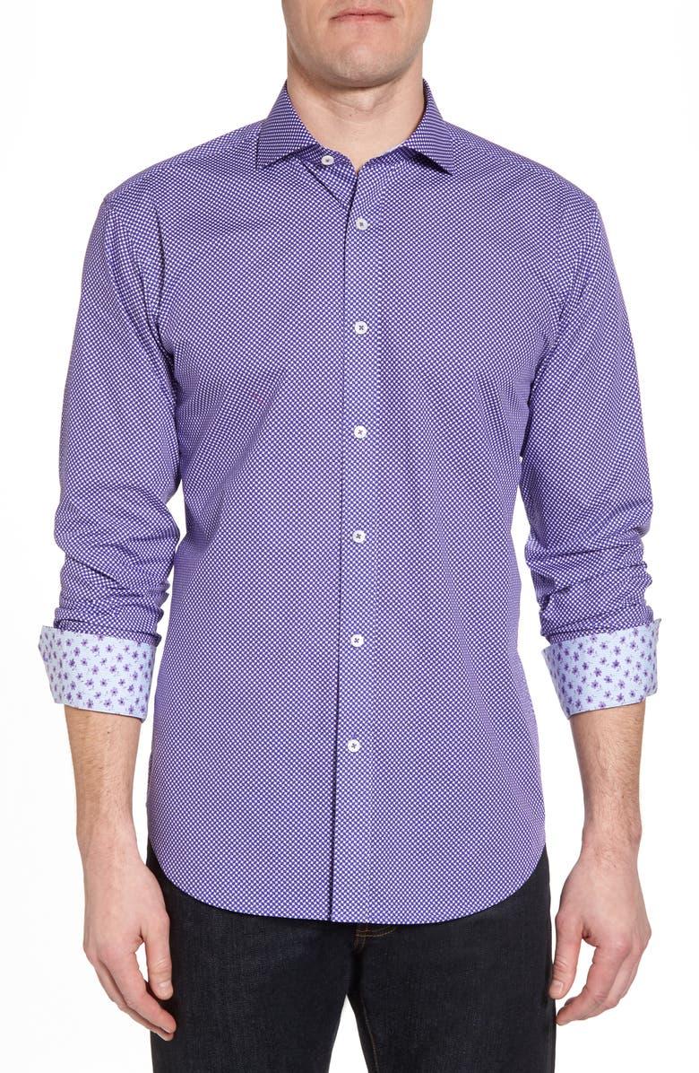 BUGATCHI Slim Fit Geo Print Sport Shirt, Main, color, 504