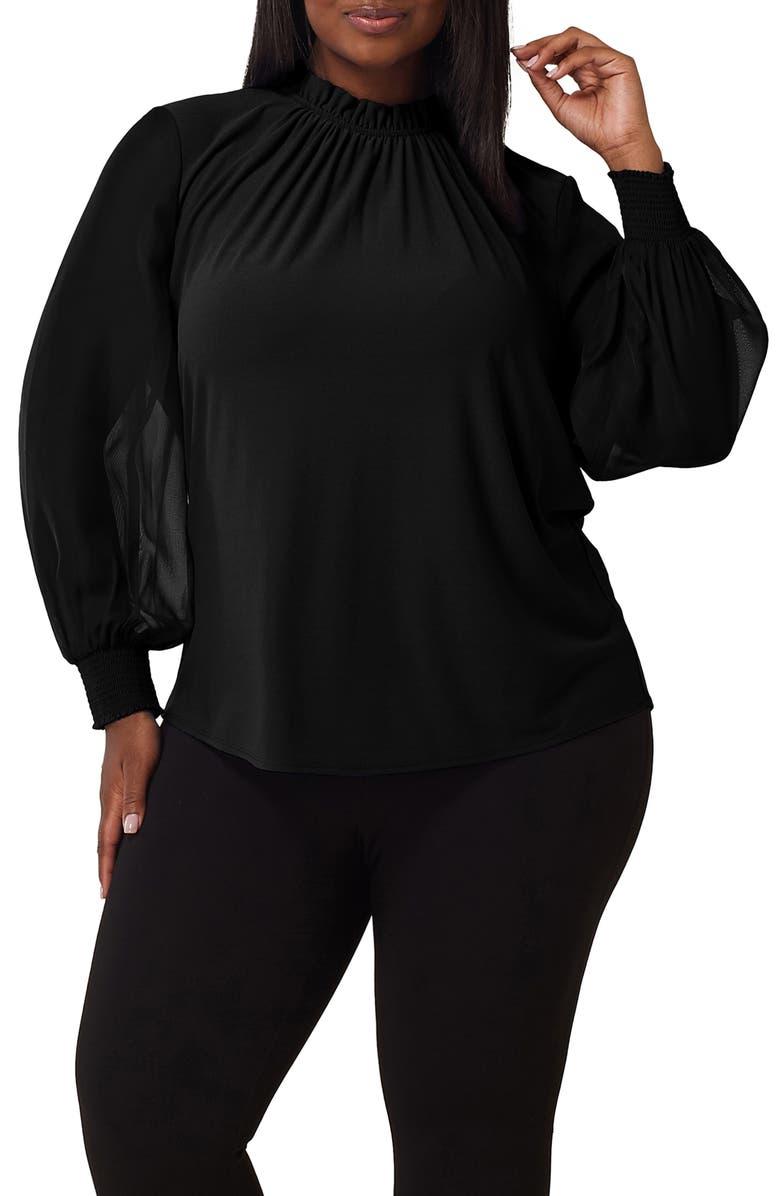 MARÉE POUR TOI Chiffon Sleeve Crepe Knit Top, Main, color, BLACK