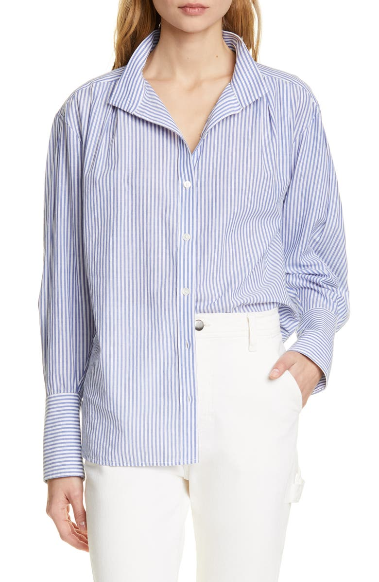 FRAME Stripe Clean Collar Pleated Shirt, Main, color, NAVY MULTI