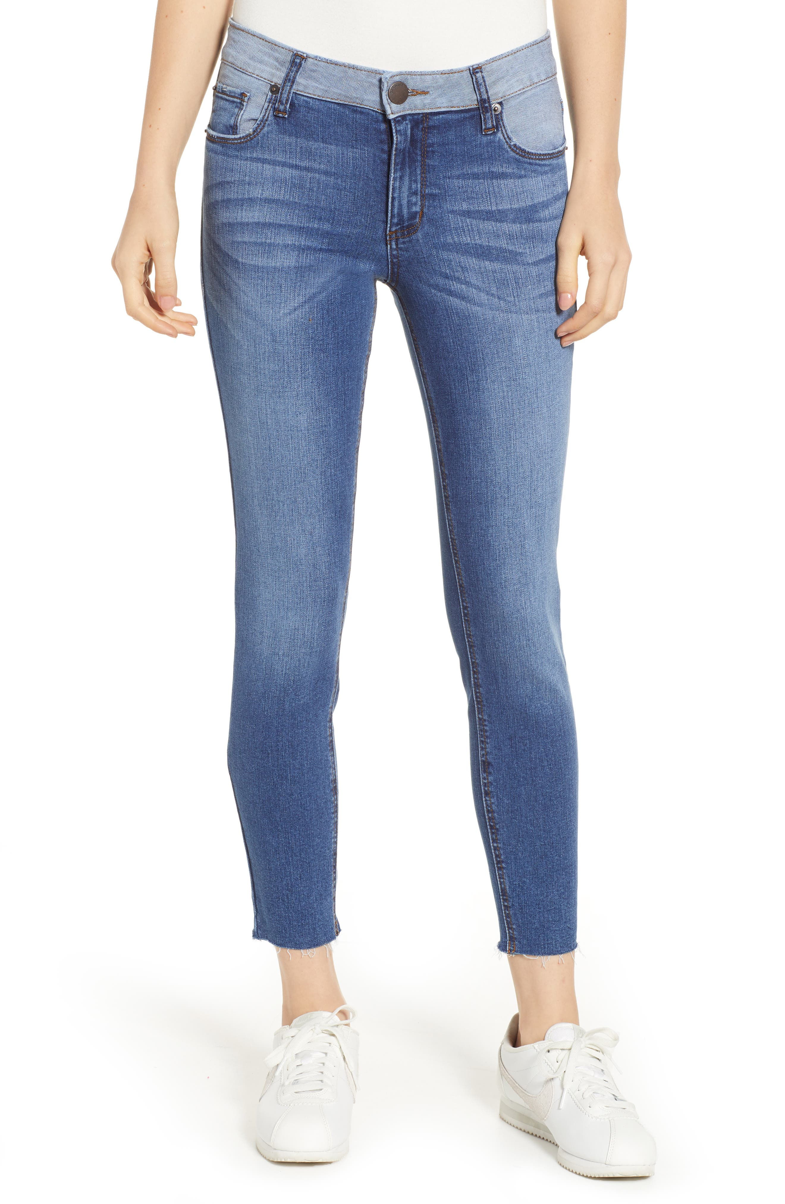 SWAT FAME Women's STS Blue Contrast Waistband Crop Skinny Jeans