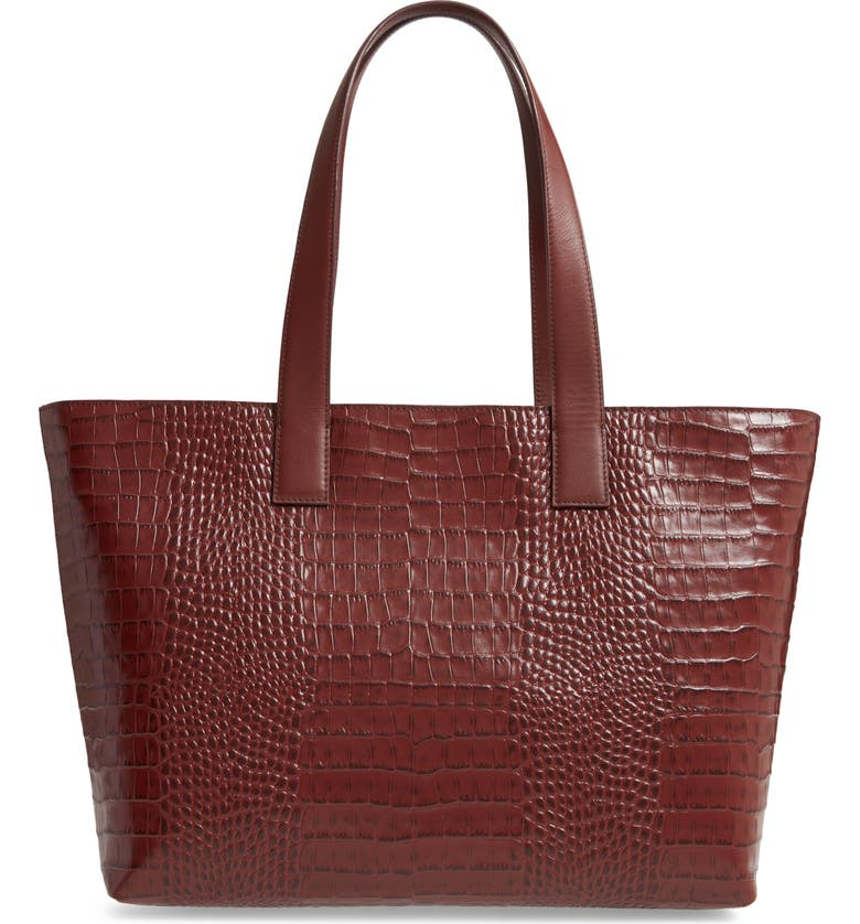 NORDSTROM Celia Croc Embossed Leather Tote, Main, color, 201