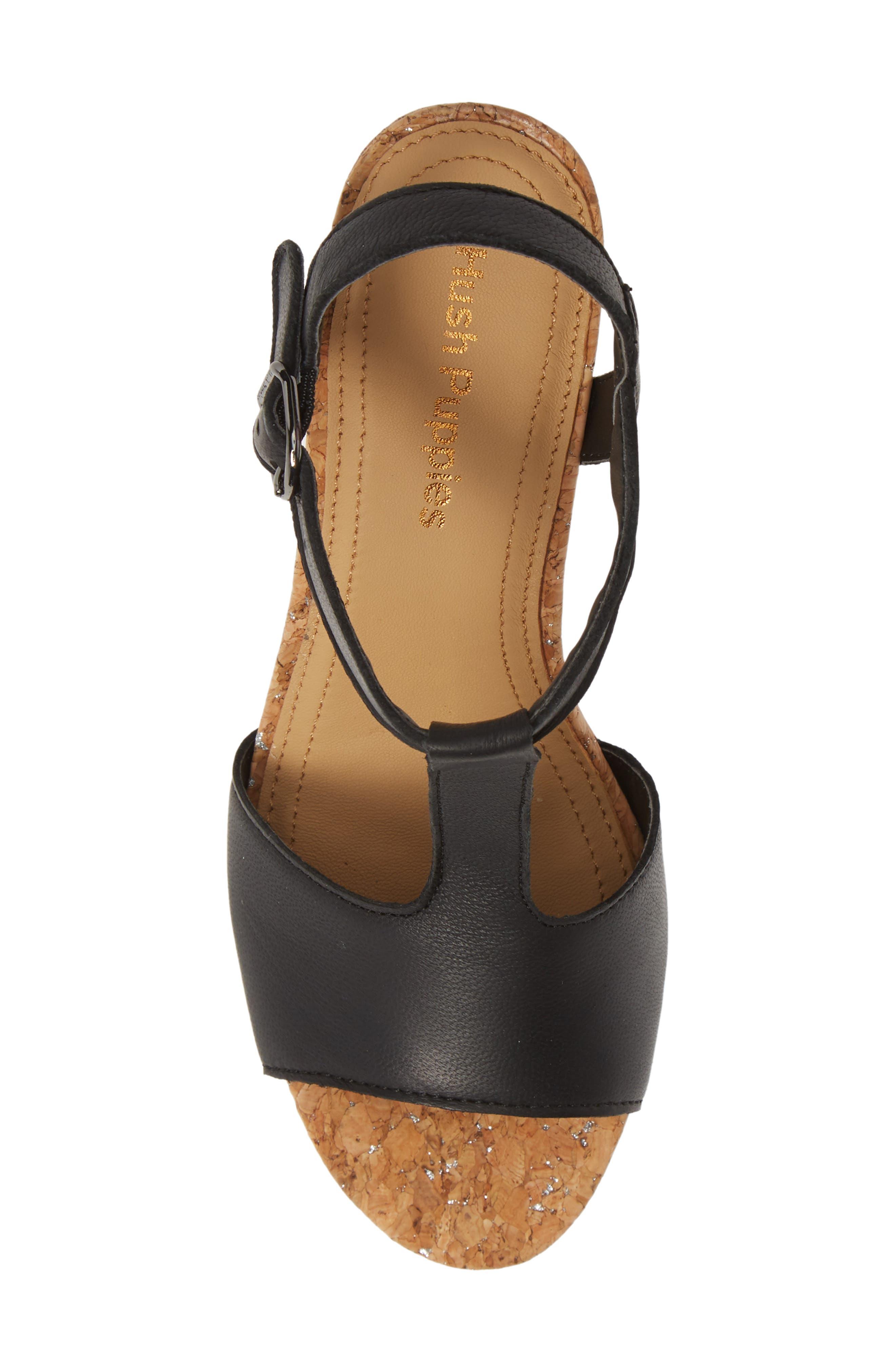 ,                             Pekingese Wedge Sandal,                             Alternate thumbnail 5, color,                             BLACK LEATHER