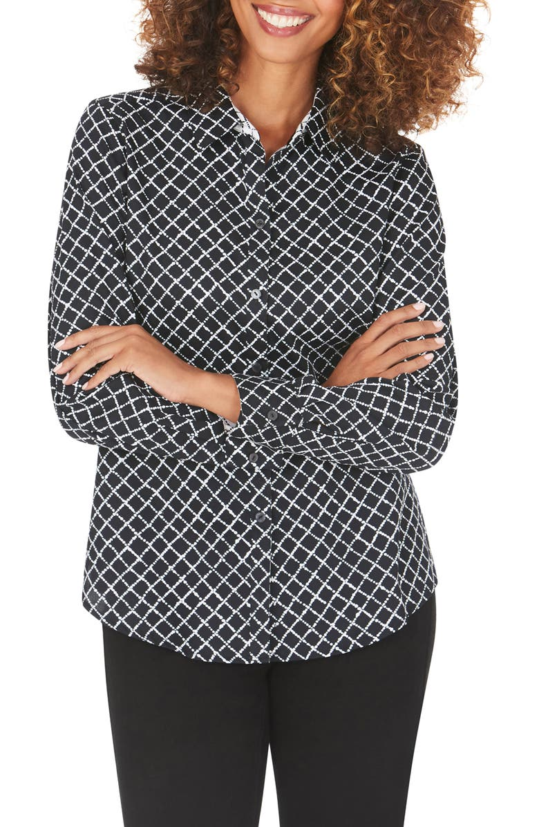 FOXCROFT Ava Diamond Dots Wrinkle-Free Shirt, Main, color, BLACK