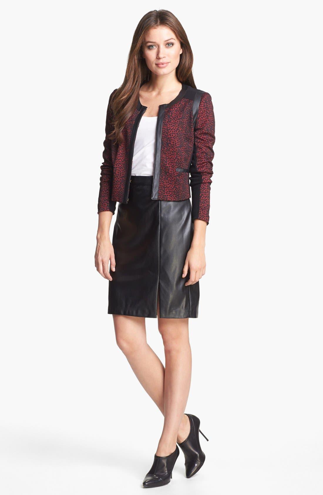 ,                             Faux Leather Skirt,                             Alternate thumbnail 4, color,                             001