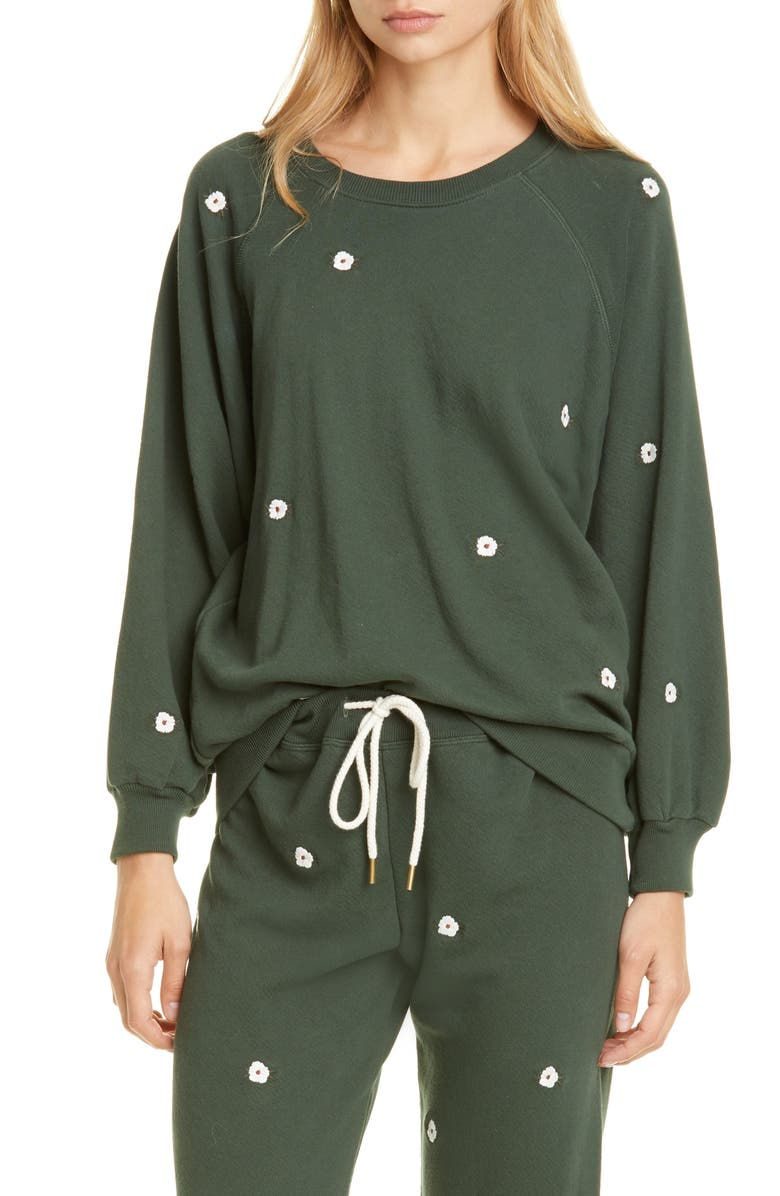 THE GREAT. The Bubble Sweatshirt with Floral Embroidery, Main, color, CLOVER