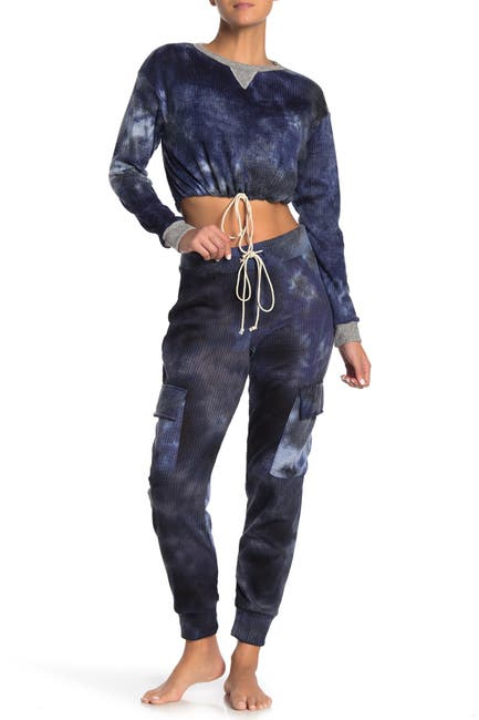 Image of Blue Moon Pink Star Brushed Tie-Dye Thermal Waffle Knit Pajama Joggers