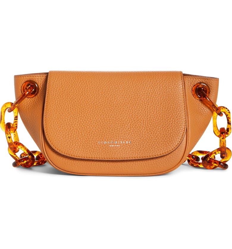 SIMON MILLER Bend Leather Shoulder Bag, Main, color, TOFFEE