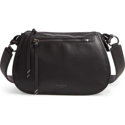 Ted Baker London Heatherr Curved Leather Crossbody Bag - Black