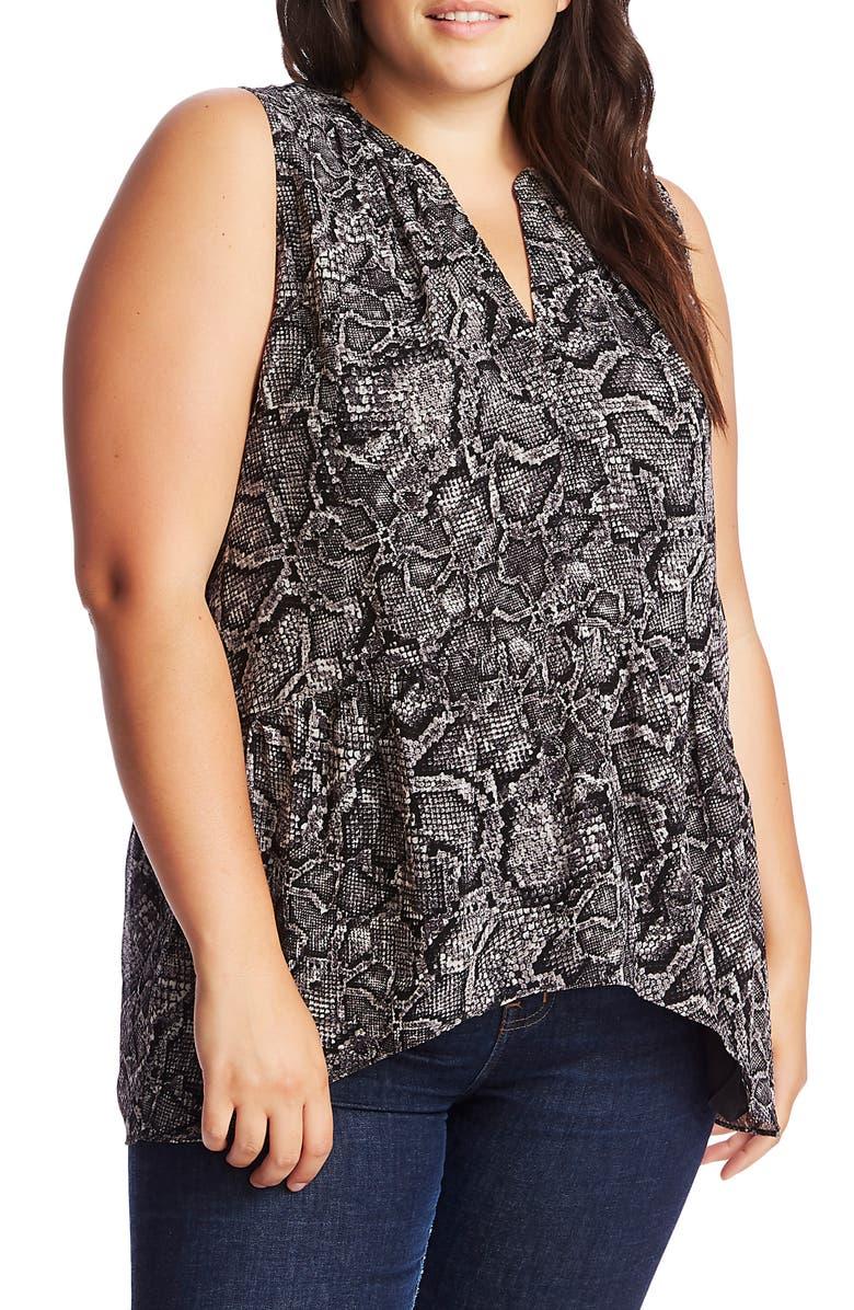 1.STATE Studded Snakeskin Print Notch Neck Top, Main, color, RICH BLACK
