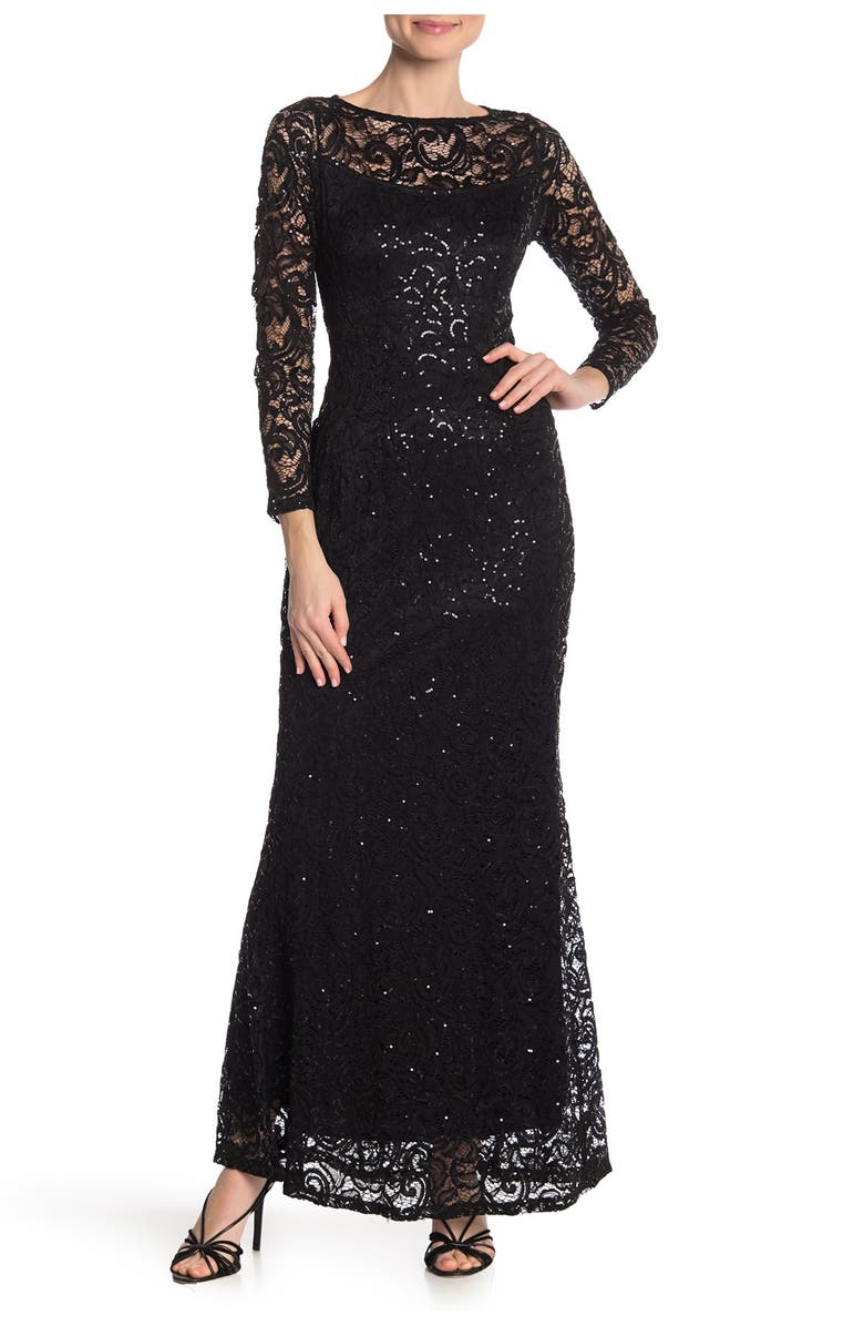 MARINA Sequin Lace Long Sleeve Gown, Main, color, BLK