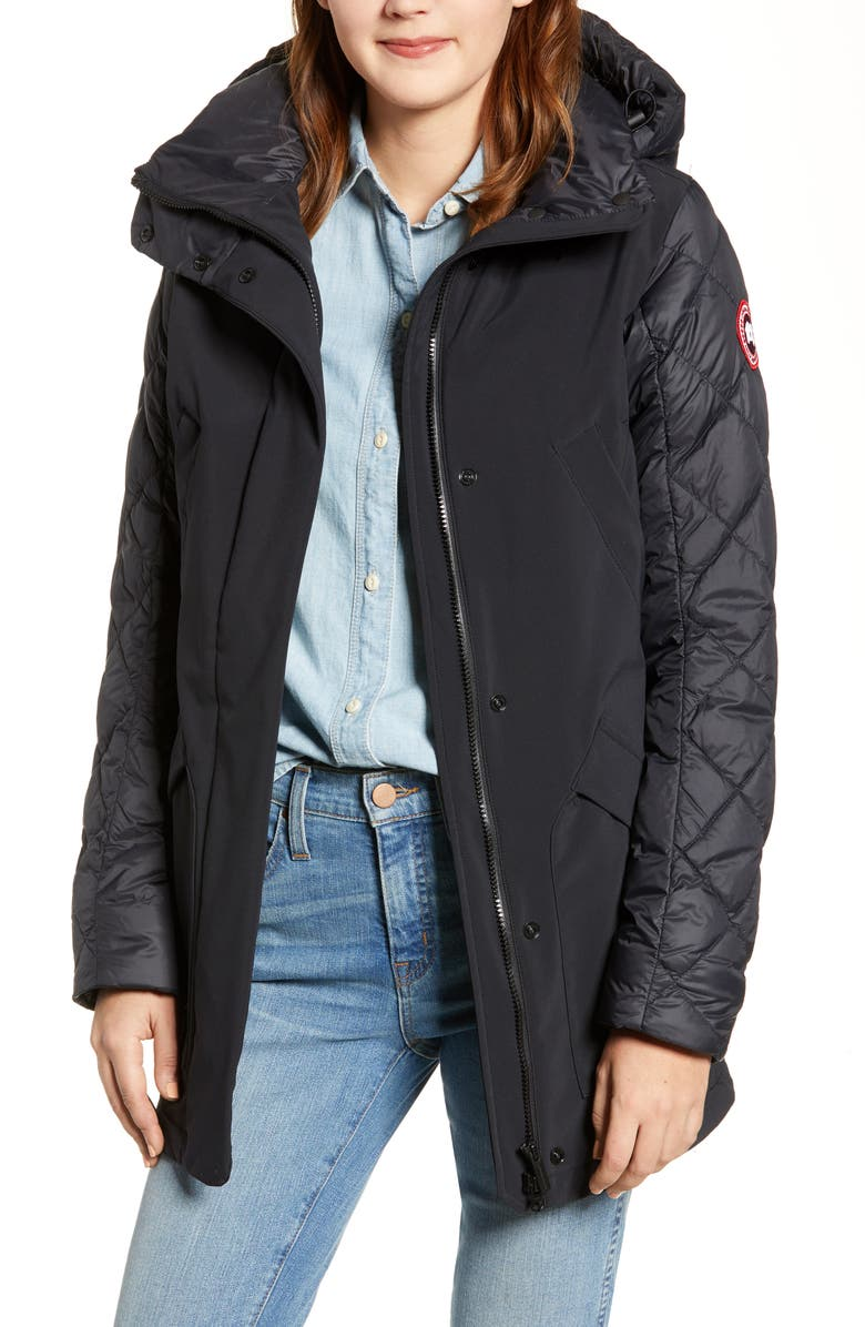 CANADA GOOSE Berkley 675 Fill Power Hooded Waterproof Mixed Media Jacket, Main, color, BLACK