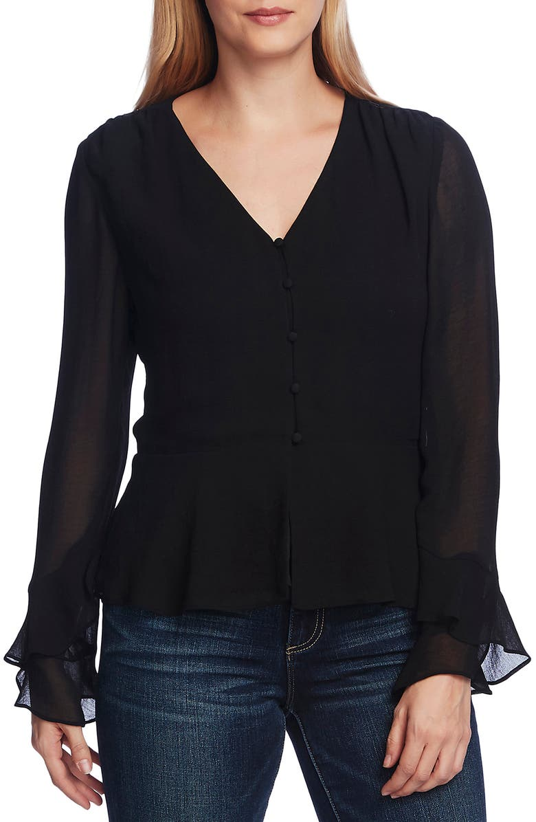 VINCE CAMUTO Long Chiffon Sleeve Blouse, Main, color, RICH BLACK