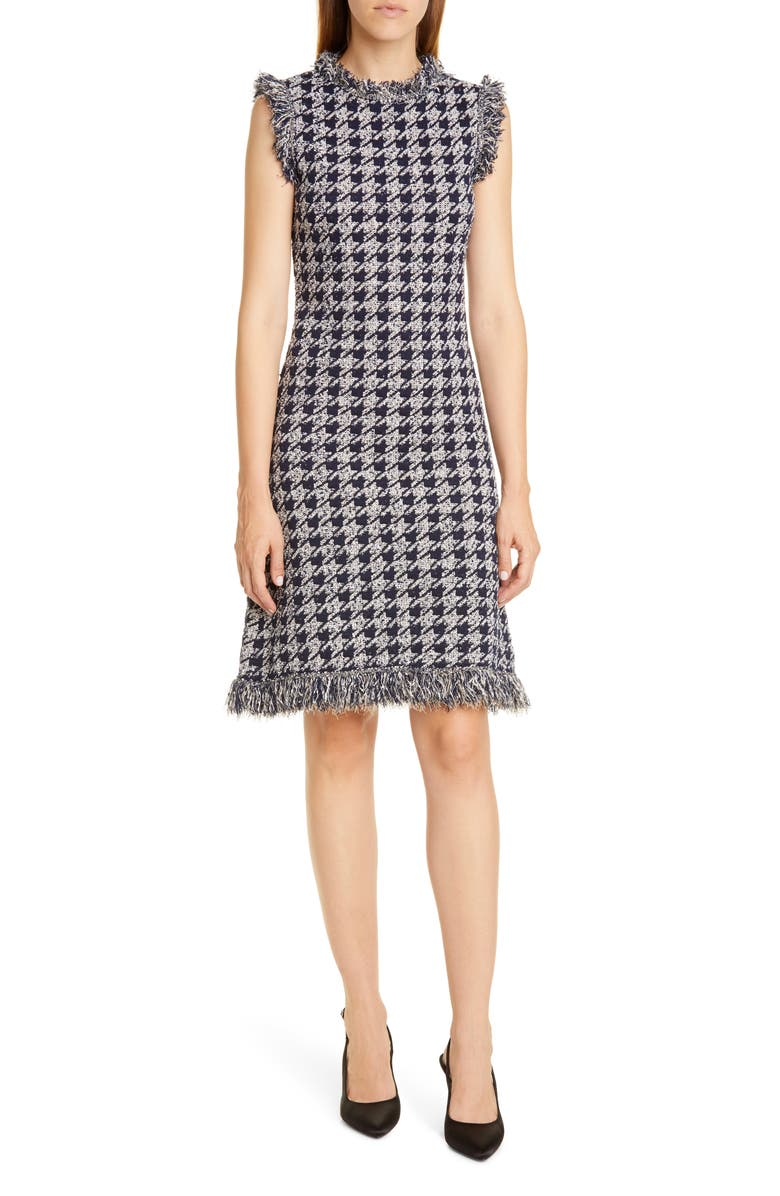 OSCAR DE LA RENTA Fringe Tweed Jacquard Dress, Main, color, 400