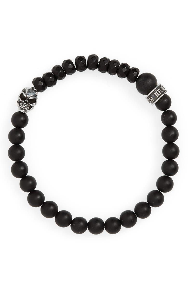 ROOM101 Agate Bead Bracelet, Main, color, BLACK