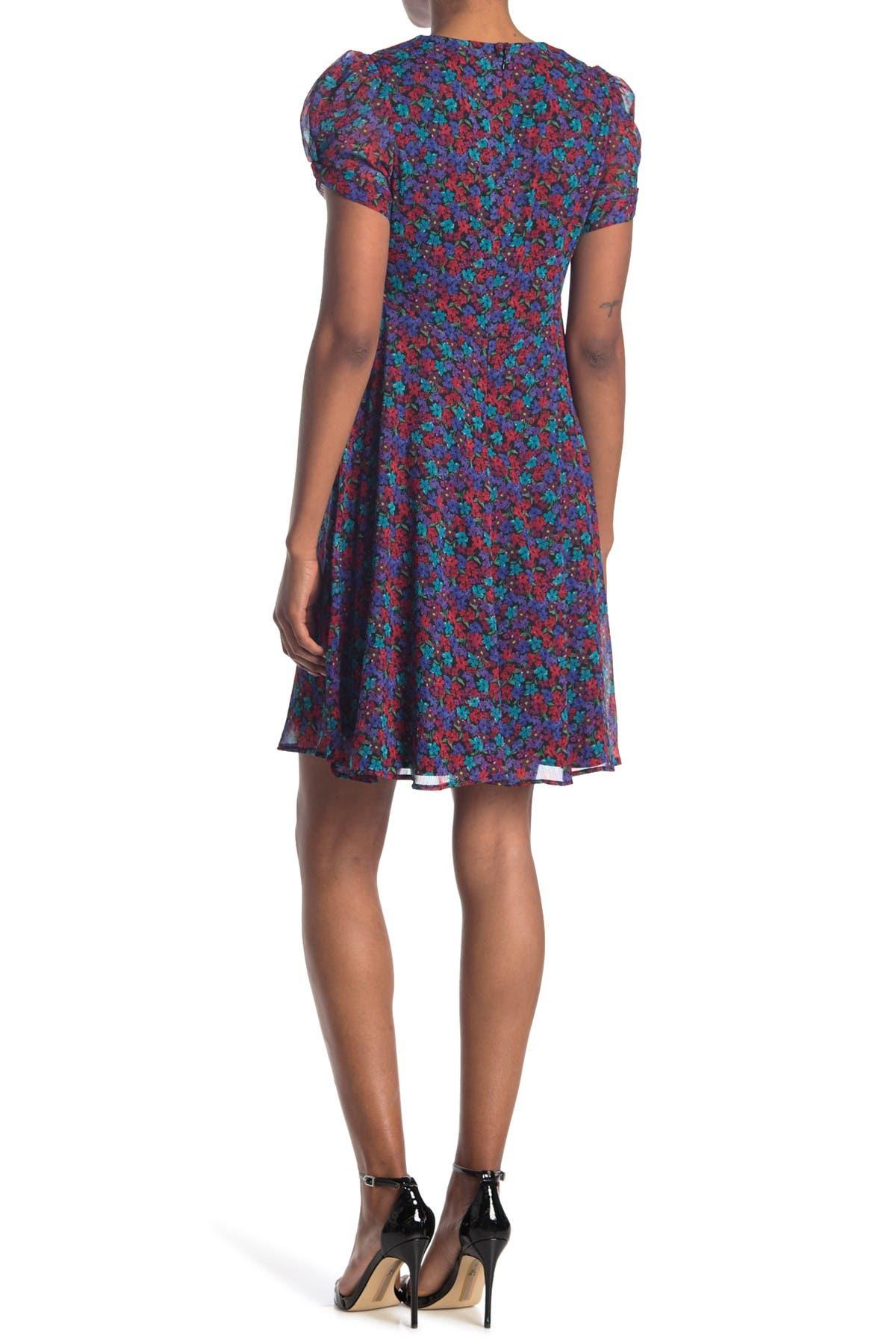 Calvin Klein | Floral Pull Sleeve Empire Waist Dress | Nordstrom Rack