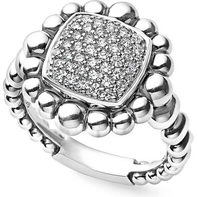 Lagos Caviar Spark Square Diamond Ring