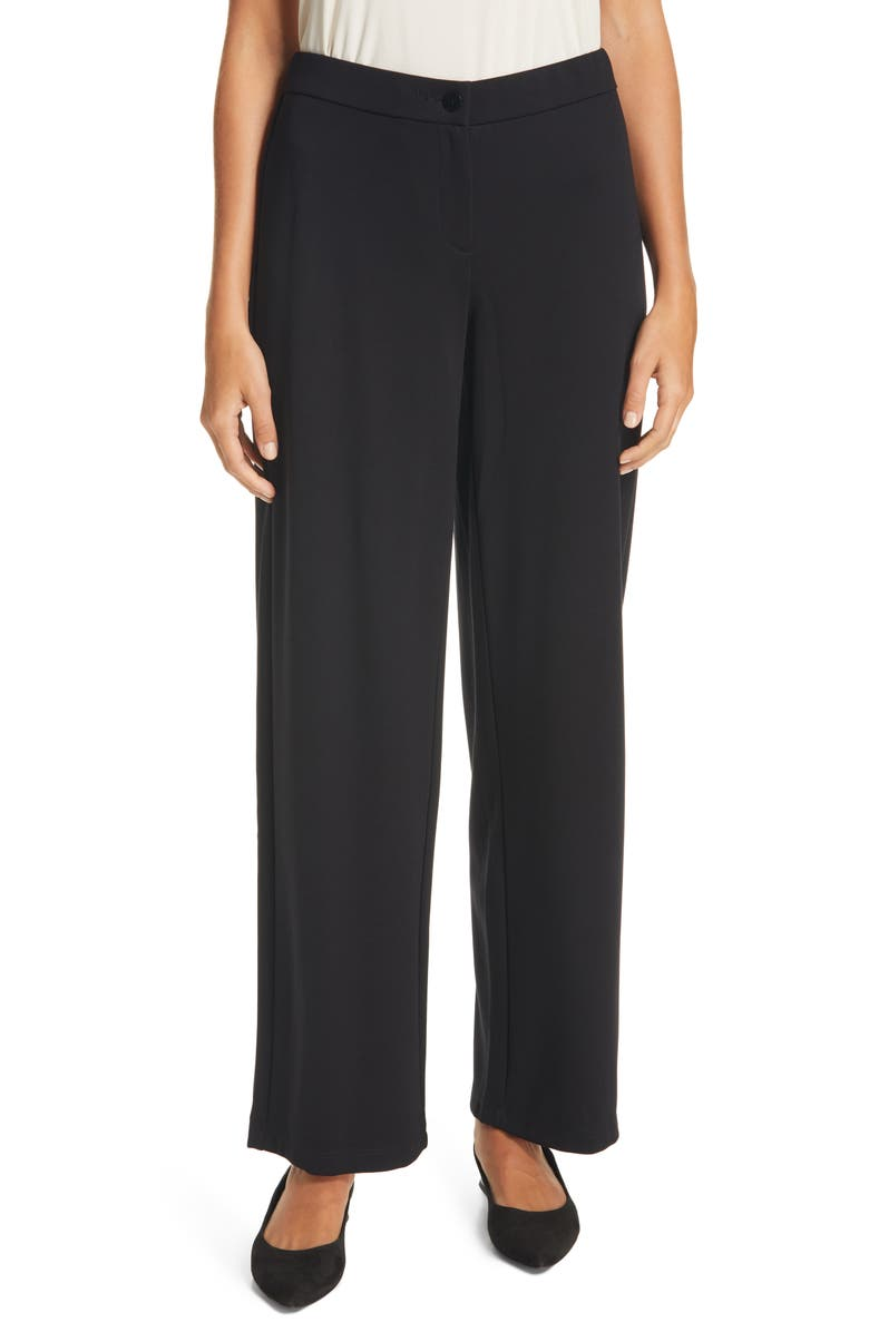 EILEEN FISHER Straight Leg Ankle Pants, Main, color, 001