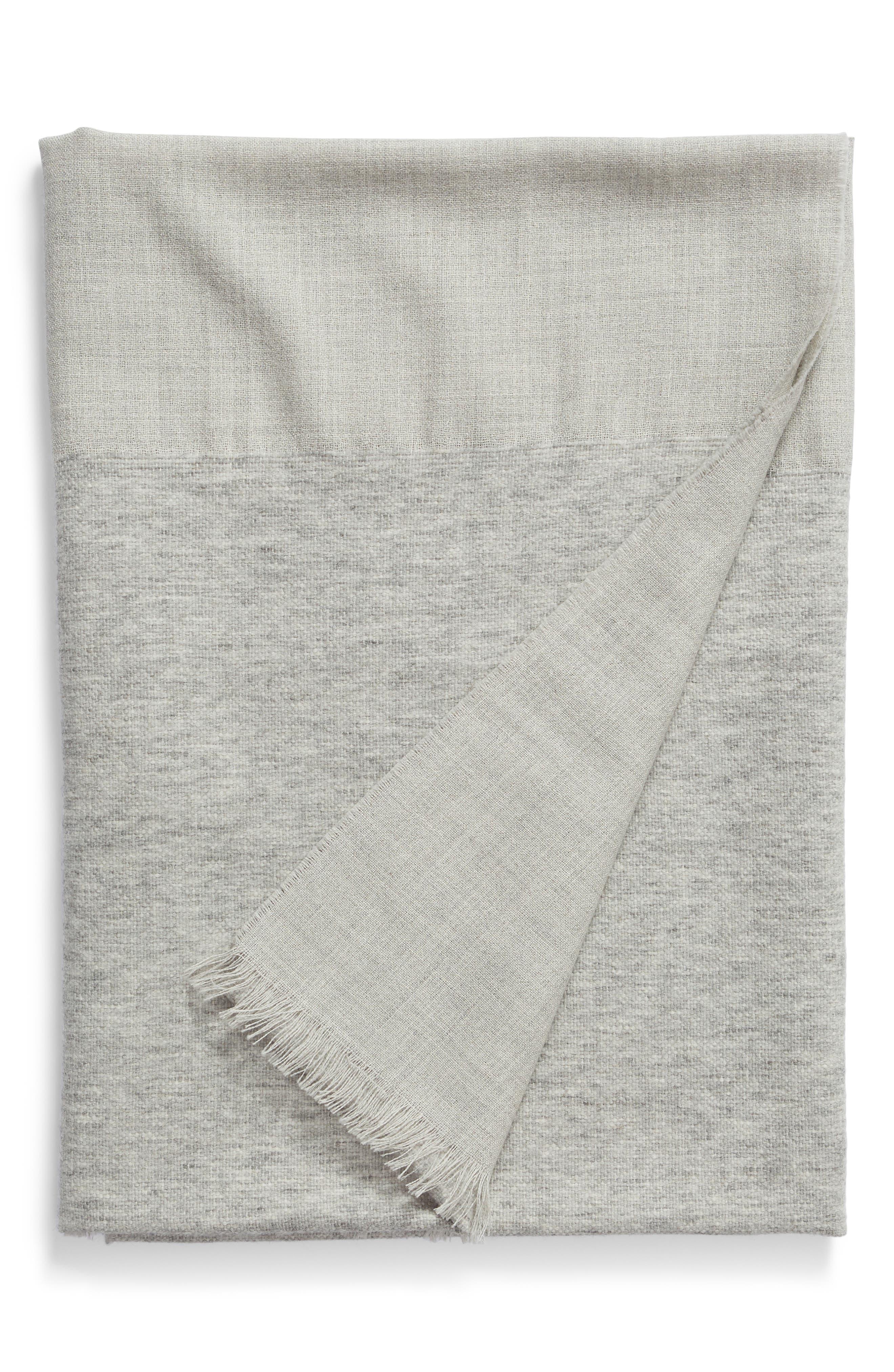 ,                             Double Texture Alpaca Blend Throw Blanket,                             Main thumbnail 1, color,                             LIGHT GREY