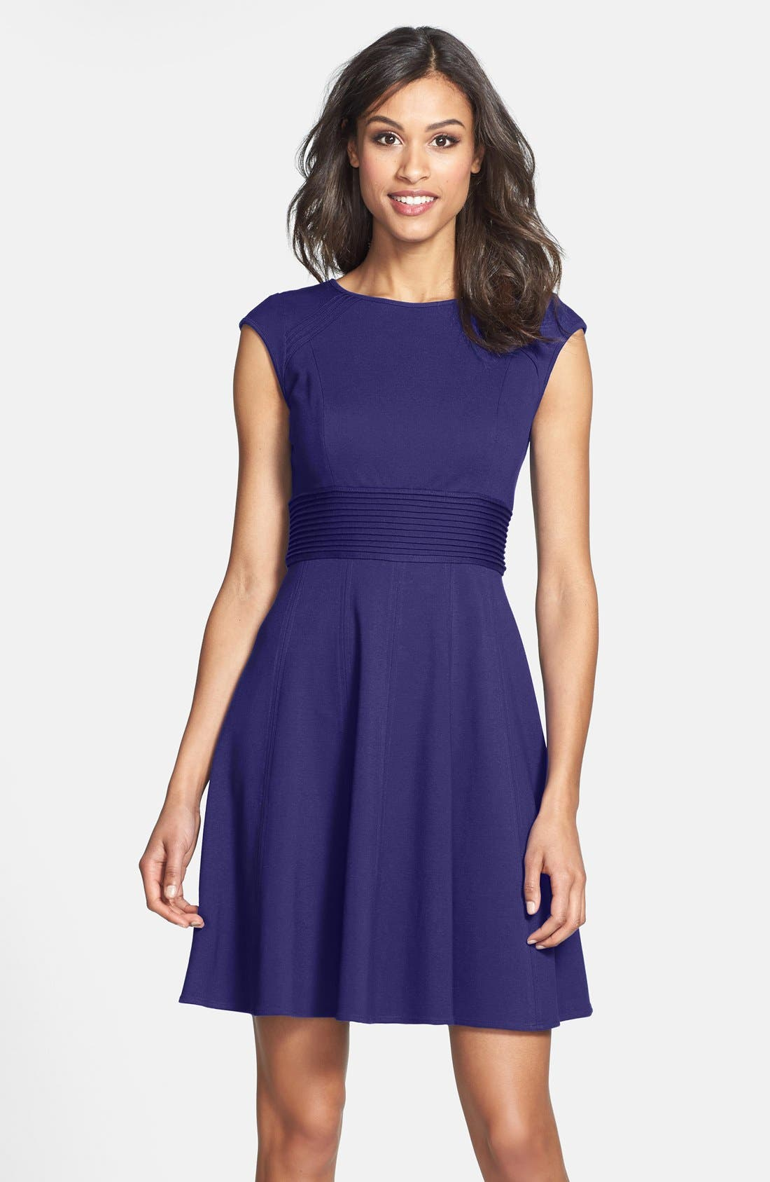 ,                             Pintucked Waist Seamed Ponte Knit Fit & Flare Dress,                             Main thumbnail 29, color,                             510