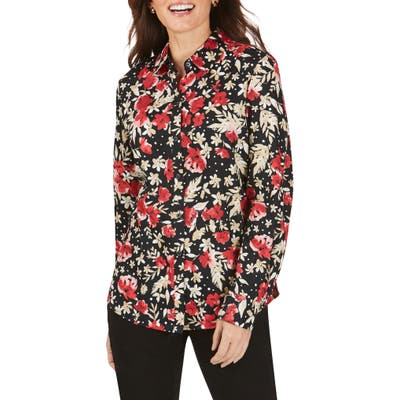 Petite Foxcroft Ava Festive Floral Wrinkle-Free Shirt, Red