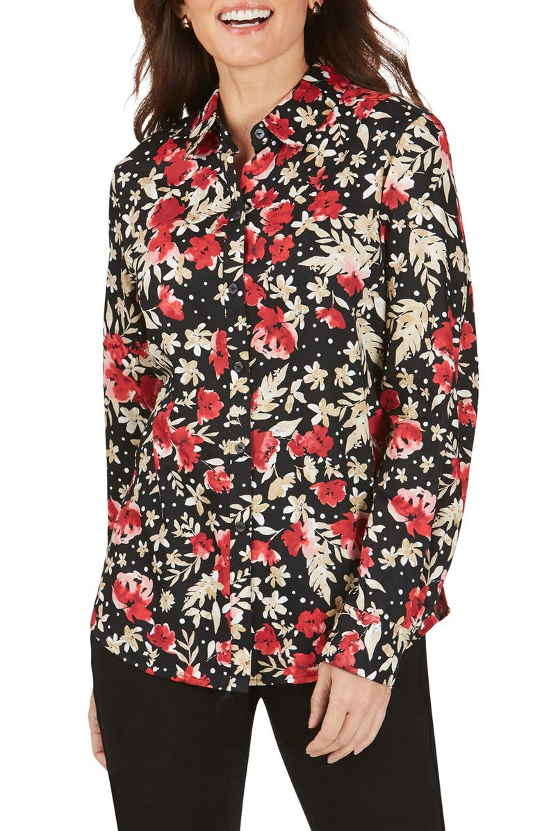 FOXCROFT Ava Festive Floral Wrinkle-Free Shirt, Main, color, MULTI