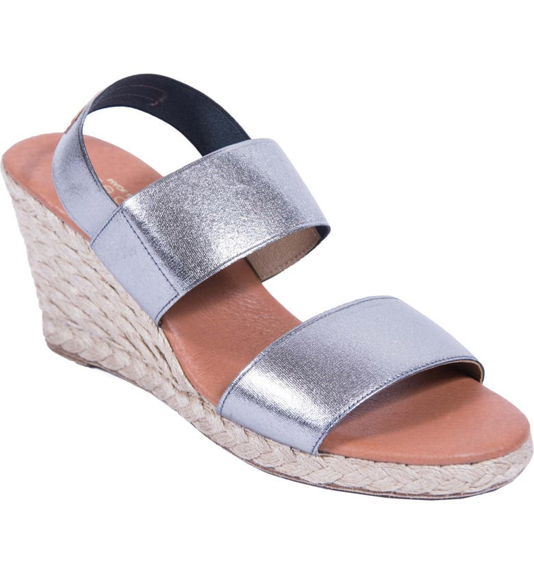 ANDRÉ ASSOUS Allison Wedge Sandal, Main, color, PEWTER FABRIC