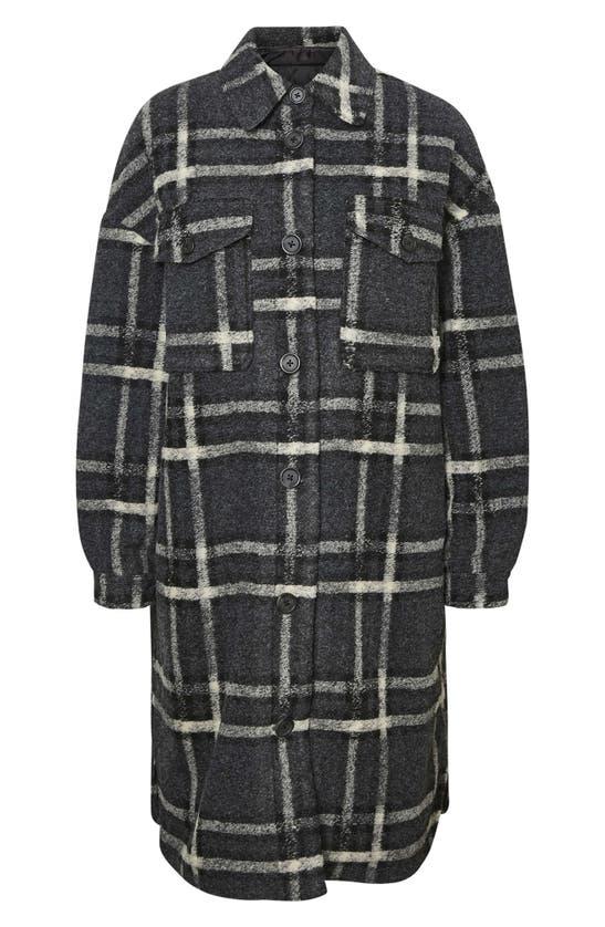 Vero Moda Chrissie Longline Plaid Shirt In Dark Grey Melange