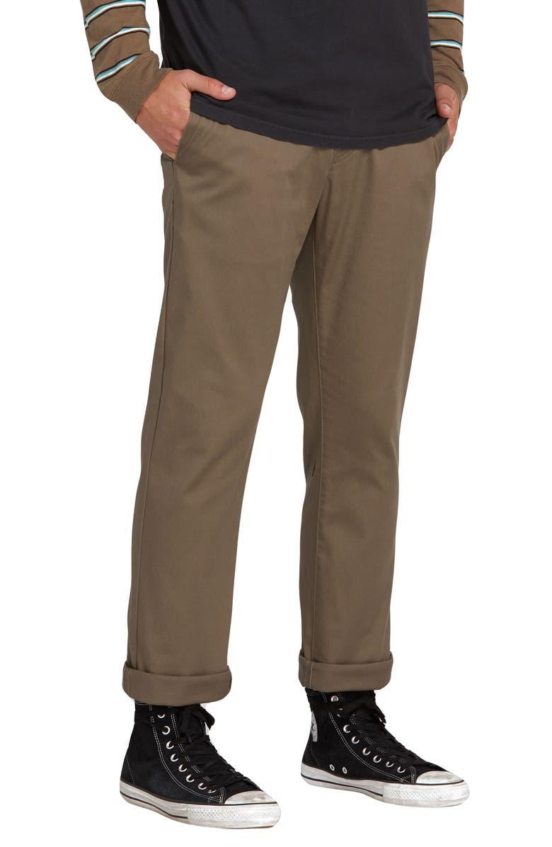 VOLCOM Frickin Modern Stretch Chino Pants, Main, color, MUSHROOM