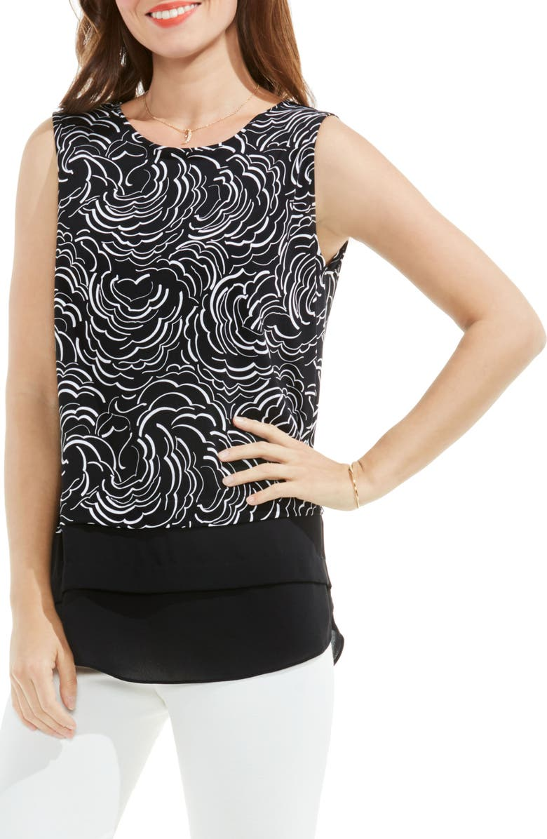 VINCE CAMUTO Graphic Ribbons Mixed Media Top, Main, color, 006