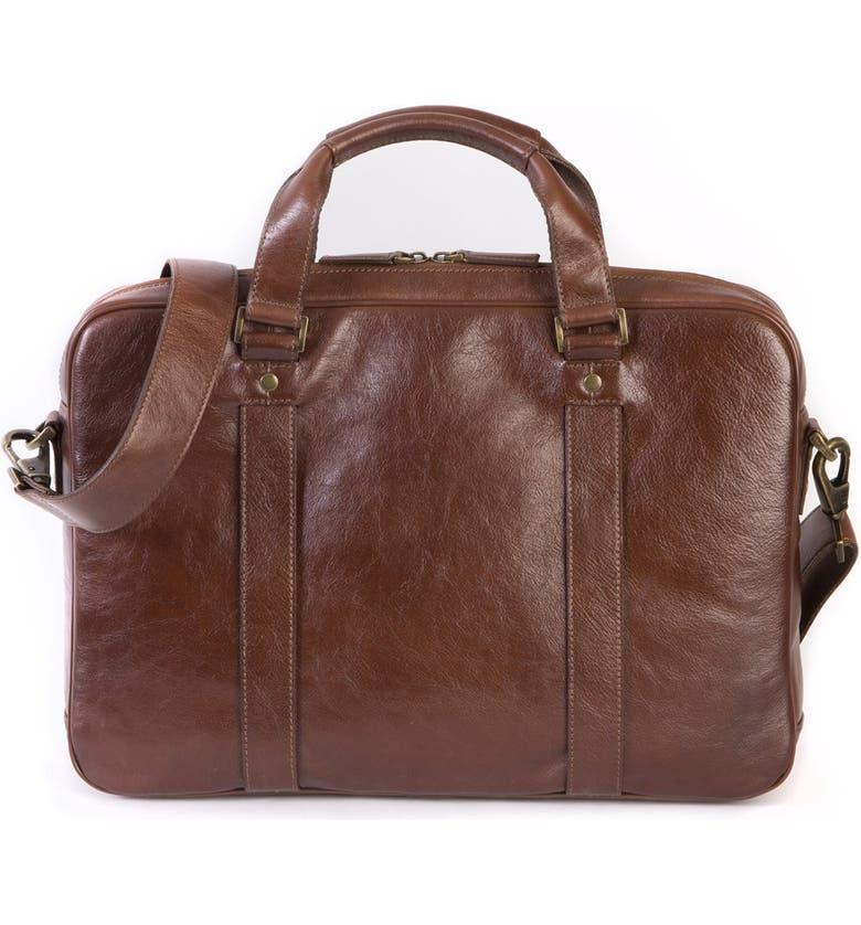 BOCONI Becker Leather Briefcase, Main, color, WHISKEY W/ KHAKI